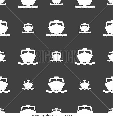 The Boat Icon Sign. Seamless Pattern On A Gray Background. Vector