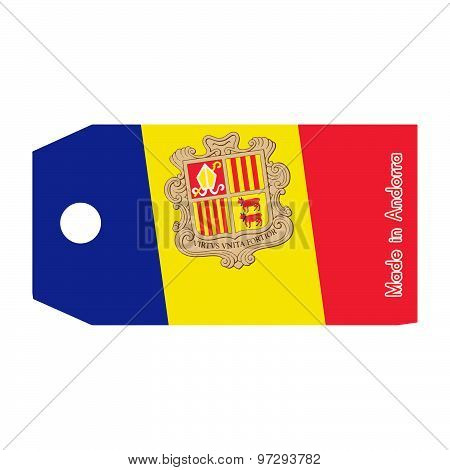 Andorra Flag On Price Tag With Word Made In Andorra Isolated On White Background