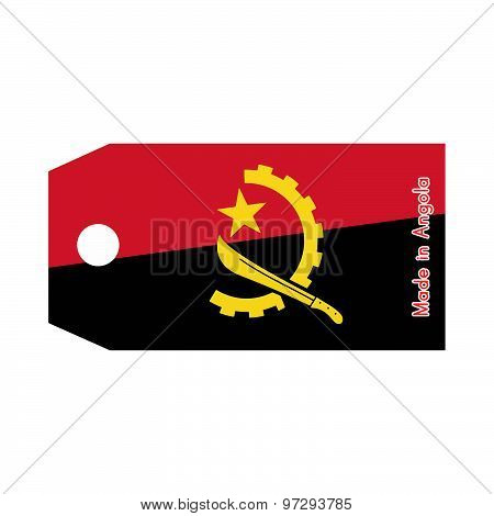 Angola Flag On Price Tag With Word Made In Angola Isolated On White Background
