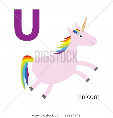 Letter U Unicorn Zoo Alphabet. English Abc With Animals Education Cards For Kids Isolated White Back