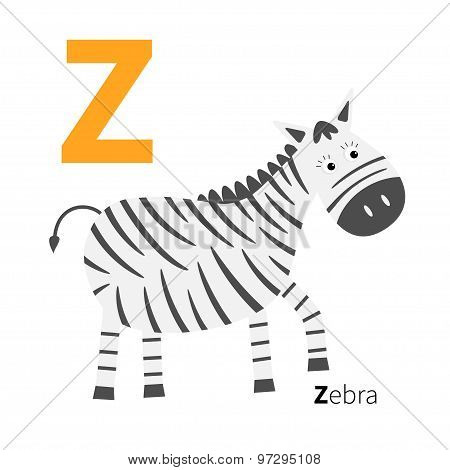 Letter  Zoo Alphabet. English Abc With Animals Education Cards For Kids Isolated White Background Fl