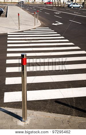 Crosswalk Markings Painted On Asphalt In The City
