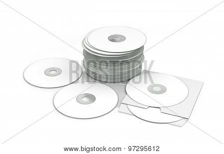 Compact Disks On White Background