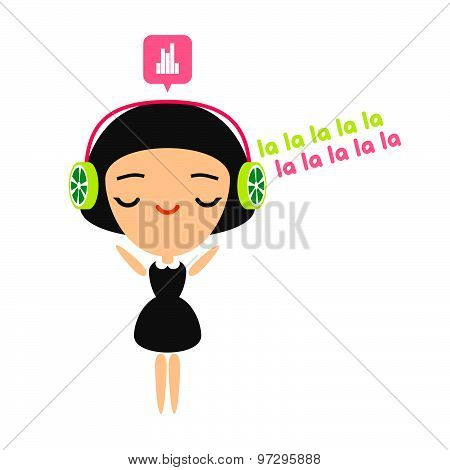 Girl listening to music on her headphones