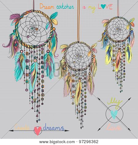Beautiful vector illustration with dream catchers. Colorful ethnic elements