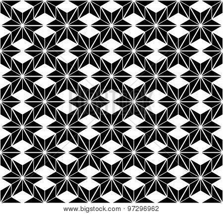 Black and white star seamless pattern