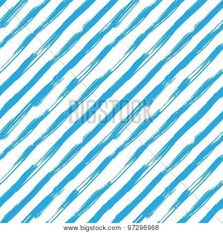 Vector seamless pattern with blue brush diagonal strokes.