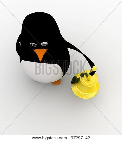 3D Penguin With Golden Bell Concept