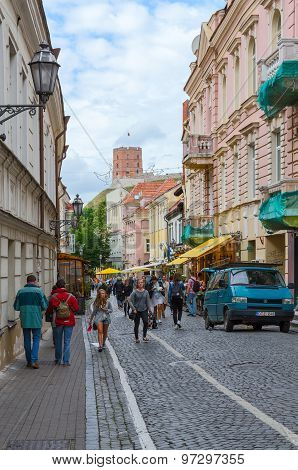 Vilnius, Old Town, Pilies Street (zamkovaya Street), View Of The Tower Of Gediminas