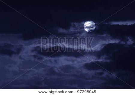 The moon on the dark sky