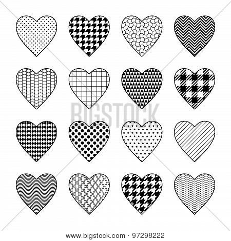 Set of black and white heart cliparts