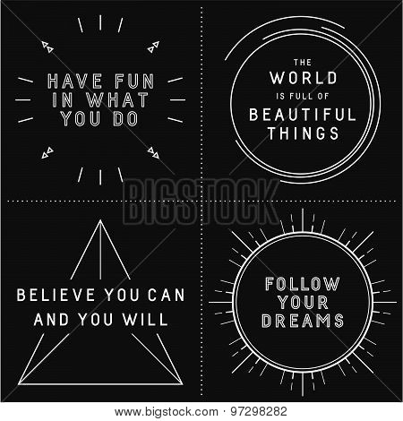 Set of typographic designs with inspirational quotes