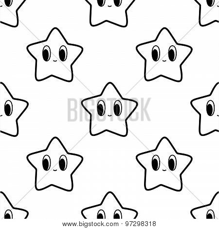 Black and white seamless pattern with star character