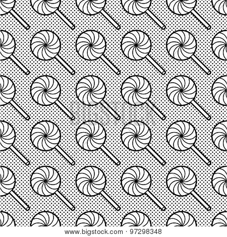 Black and white seamless pattern with lollipops