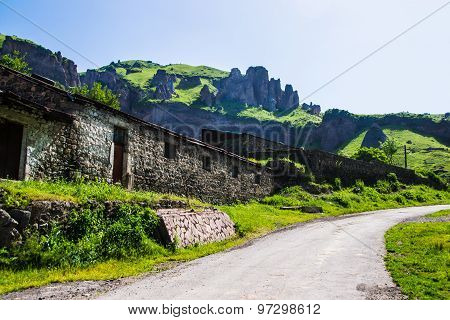 Stone Construction, Road And Rocks On Background, Armenia Goris