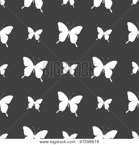 Butterfly Icon Sign. Seamless Pattern On A Gray Background. Vector