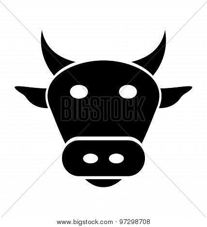 Cow, Bull Head On White Background