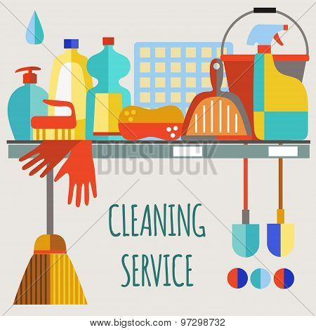PrintCleaning products flat icon vector set.
