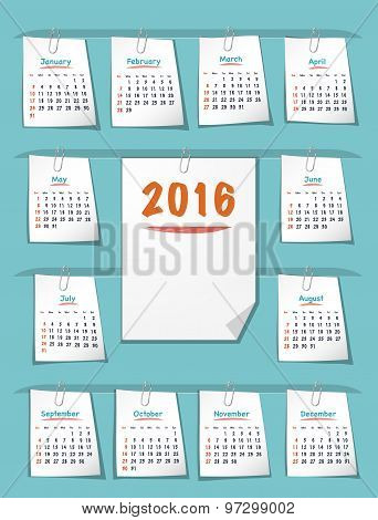 Calendar For 2016 Year On Sticky Notes
