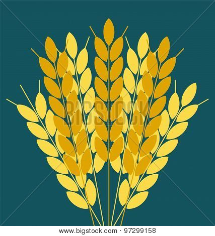 Wheat Ears Or Rice Icon. Crop Symbol. Design Element For Bread Packaging Or Beer Label. Agricultural