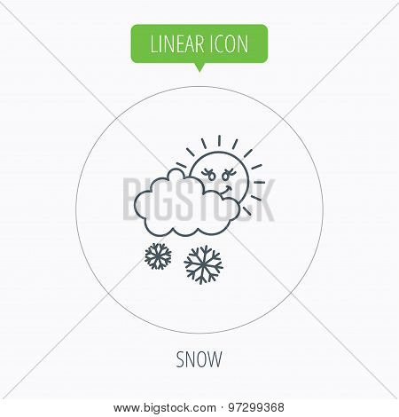 Snow with sun icon. Snowflakes with cloud sign.