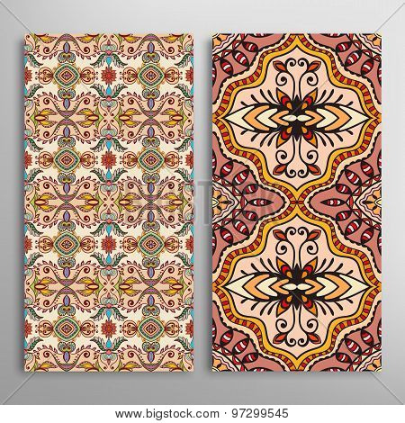 Card or invitation with hand drawn texture. Decorative ornament seamless patterns set. Arabic  India