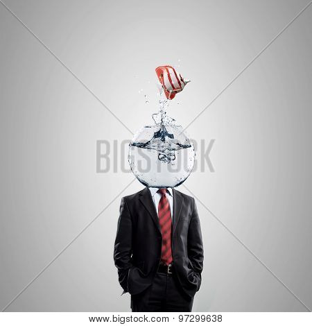 Man with water bowl with fish instead of a head