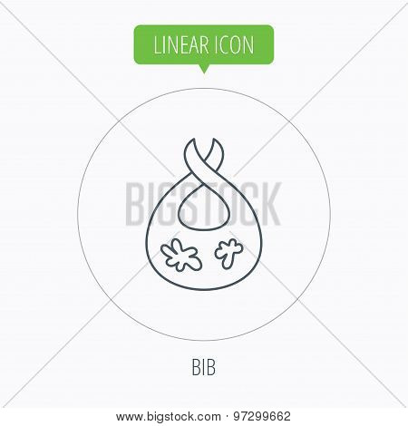 Bib with dirty spots icon. Baby clothes sign.