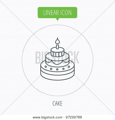 Cake icon. Birthday delicious dessert sign.