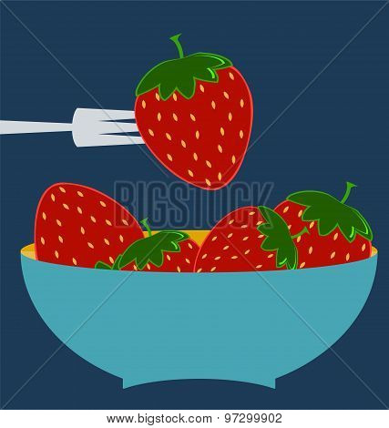 Strawberry Icon. Flat Design Style Modern Illustration, Blue Plate Concept