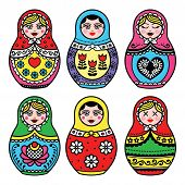 ������, ������: Matryoshka Russian doll colorful icons set