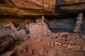 stock photo of cave-dweller  - Castle Creek Indian Ruins near halls crossing Utah - JPG
