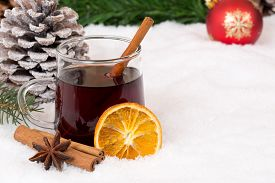 picture of cold drink  - Mulled wine on Christmas in winter drinking alcohol drink decoration with snow and copyspace - JPG