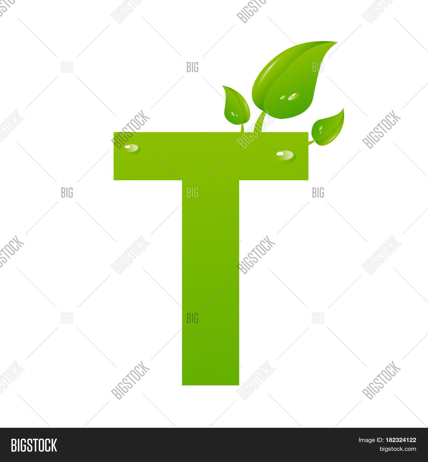 green eco letter t illiustration on white stock photo