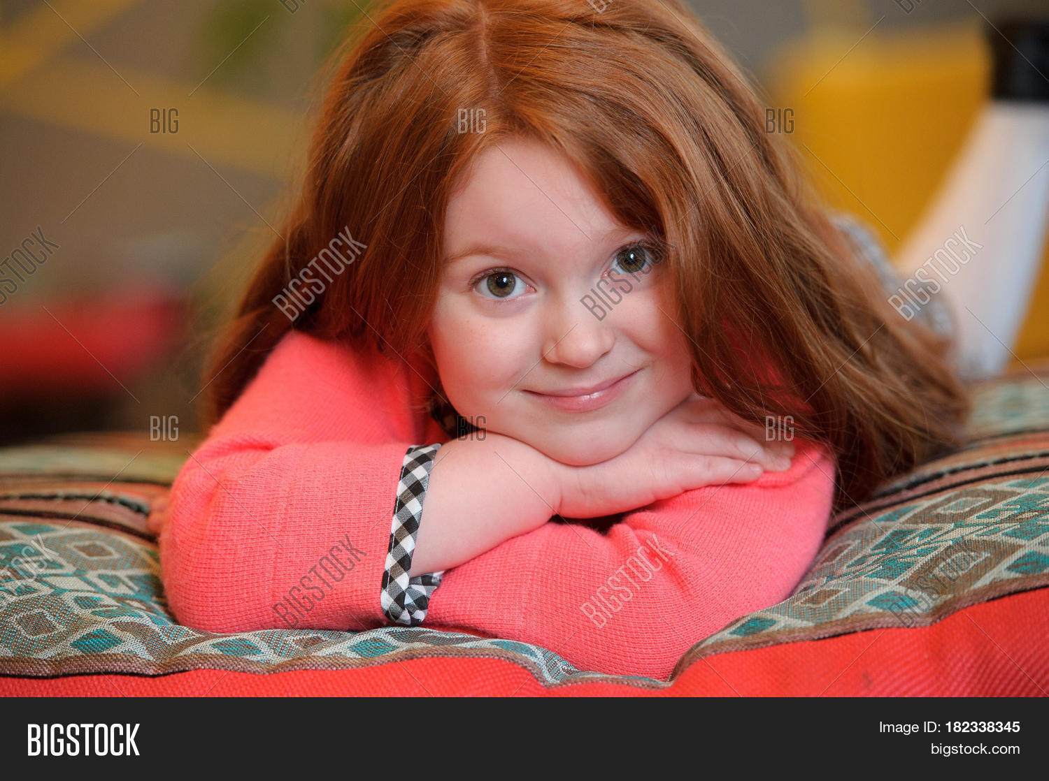 Beautiful little girl smiling red image photo bigstock for Beautiful small teen