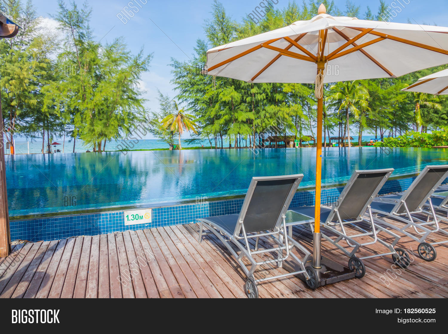 Swimming Pool With Relaxing Seats Near The Sea Stock Photo Stock Images Bigstock