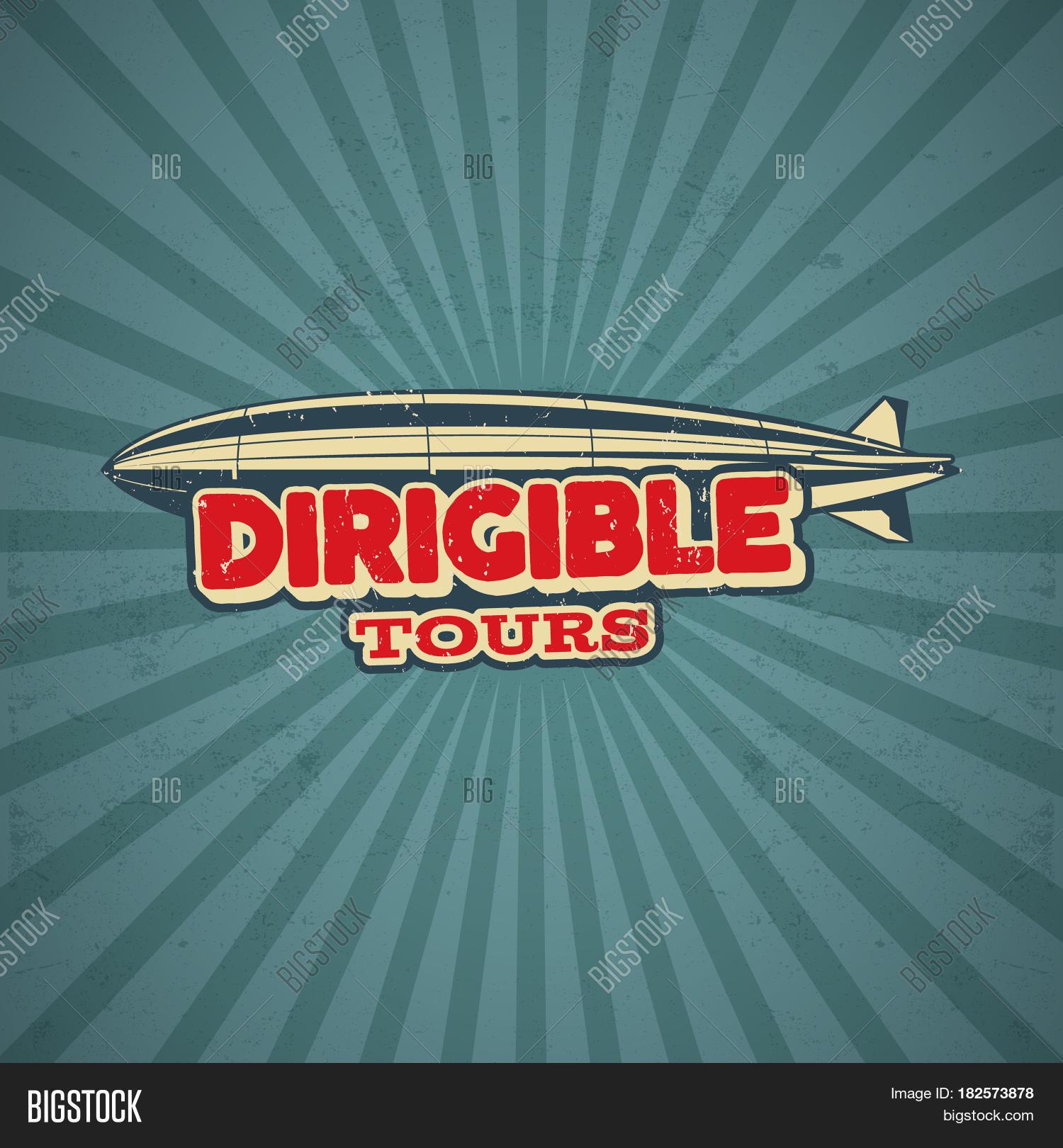 Poster design 50s - Vintage Airship Poster Design Retro Dirigible 50s Poster Airplane Label Design Old Sketching