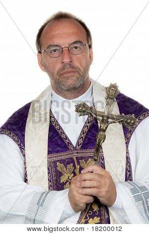 Catholic priest with a cross