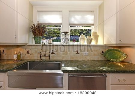 Kitchen With White Walls And Large Sink