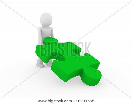 3D Human Puzzle Green