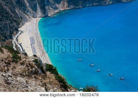 Myrtos Beach Aerial View With Yachts