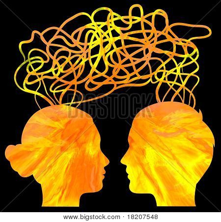 Abstract Yellow Silhouette Of Couple Heads Thinking, Relationship Concept