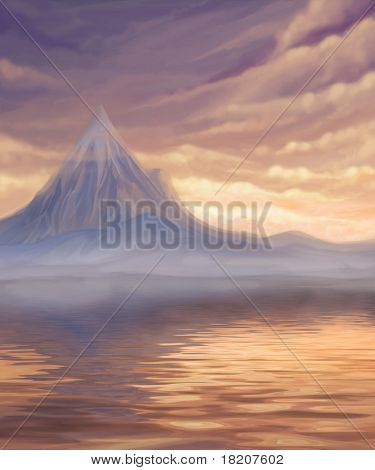 Sunset Landscape With Lake And Mountain, Digital Painting