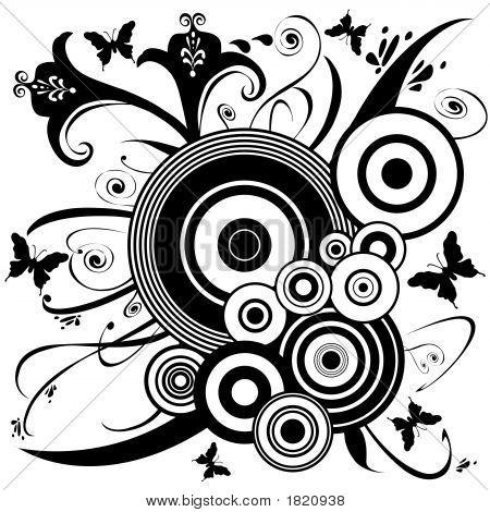 Butterfly Flower Ornament Design Art 31