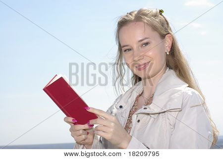 Female with a red book