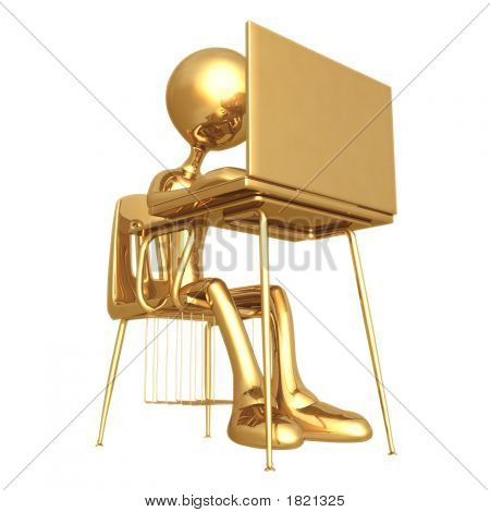 Little Golden Student With Laptop At School Desk