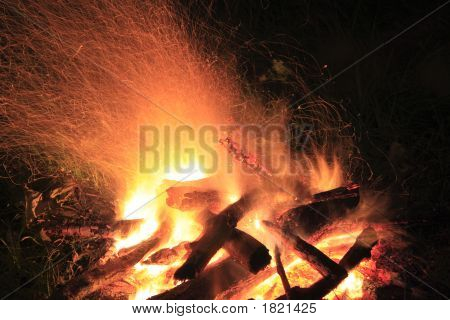 Camp Fire At Night, Flame And Sparks