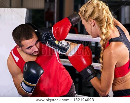 Boxing workout woman in fitness
