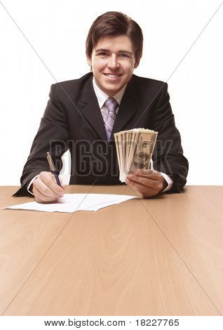 Businessmen passing money with contract