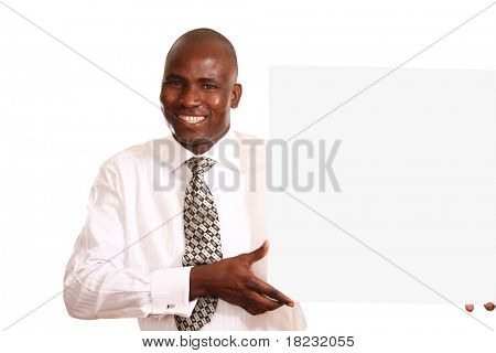 businessman with white card